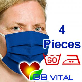 Unisex Mouth- and Facemask  Blue 4 Pieces