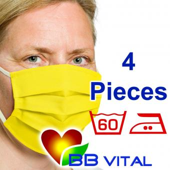 Unisex Mouth- and Facemask  Yellow 4 Pieces