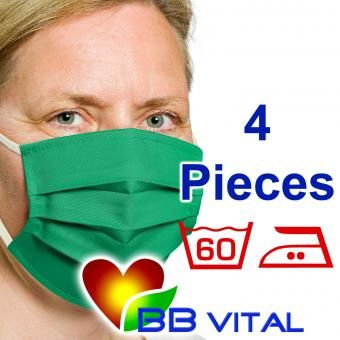 Unisex Mouth- and Facemask  Green 4 Pieces