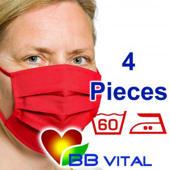 Unisex Mouth- and Facemask  Red 4 Pieces